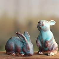 Ceramic figurines, 'Joyful Rabbits' (pair)