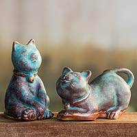 Ceramic statuettes, 'Turquoise Feline Sisters' (pair) - Handcrafted Ceramic Cat Statuettes from Thailand (pair)