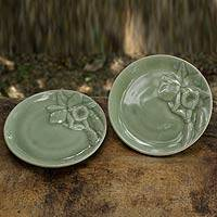 Celadon ceramic plates, 'Enchanted Orchids' (pair) - Pair of Celadon Ceramic Floral Plates