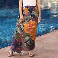 Cotton batik sarong, 'Thai Rose Garden' - Cotton Batik Sarong Purple and Gold