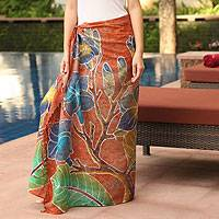Cotton batik sarong, 'Thai Plumeria Garden' - Cotton Batik Sarong Blue and Orange