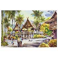 'Ruan Galae lI' - Watercolor Painting Thailand Signed Fine Art