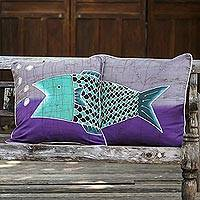 Cotton batik cushion covers, 'Lucky Thai Fish' (pair)