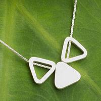 Sterling silver pendant necklace, 'Triangle Trio' - Thai Modern Handmade Sterling Silver Pendant Necklace