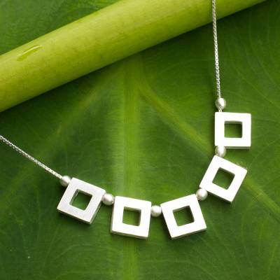 Sterling silver pendant necklace, 'Plane Geometry' - Necklace with Sterling Silver
