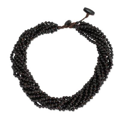 Wood torsade necklace, 'Chiang Rai Belle' - Dark Brown Torsade Necklace Wood Beaded Jewelry