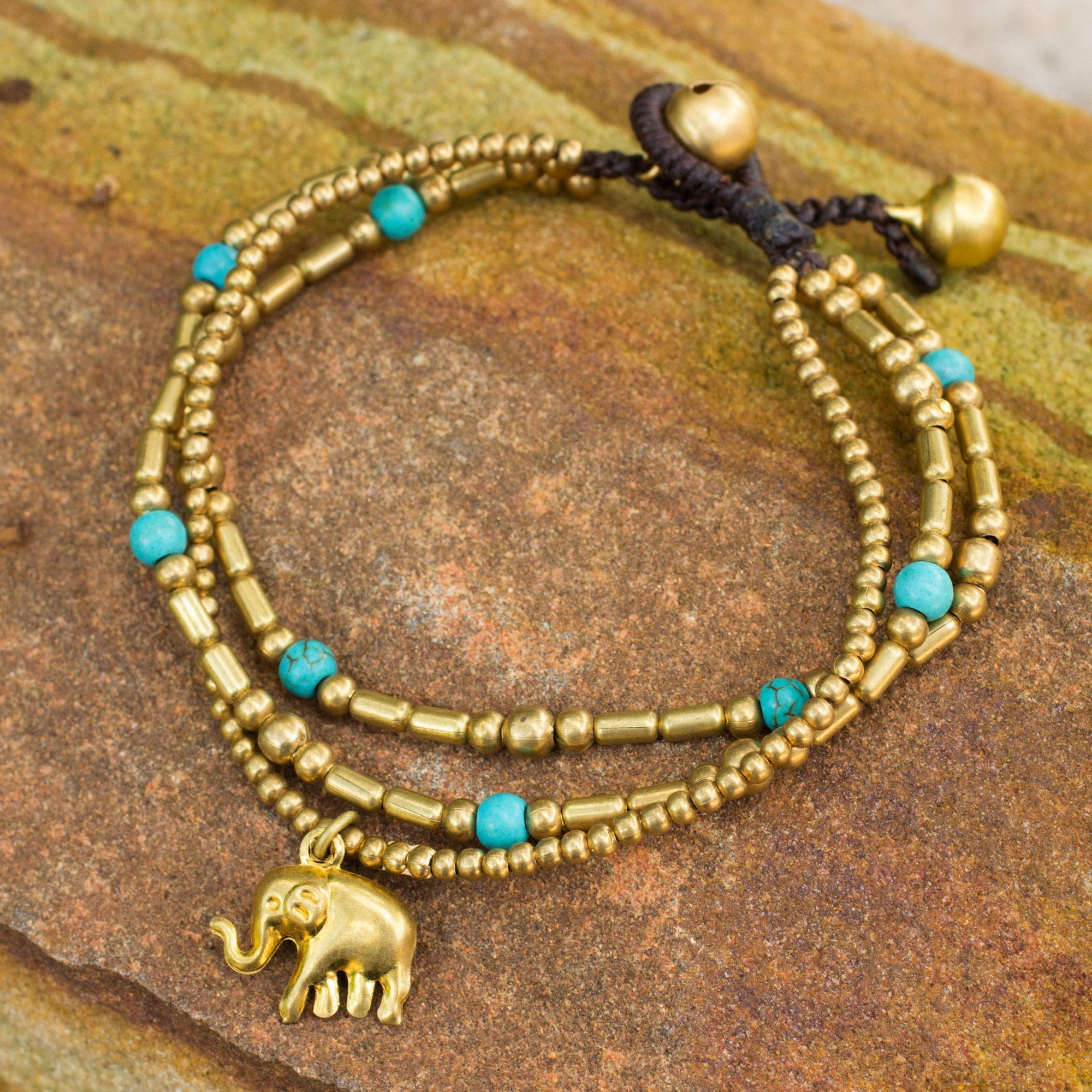 Brass Bracelet Turquoise-color Gems Beaded Jewelry - Thai Elephant ...