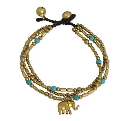 Handcrafted Turquoise Brass Beaded Bracelets
