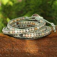Jasper wrap bracelet, 'Surin Summer' - Jasper and Agate Cotton Wrap Bracelet
