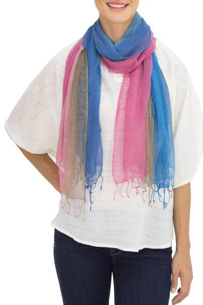 Silk scarves, 'Turquoise Fantasy' (pair) - Artisan Crafted Silk Scarves (Pair)