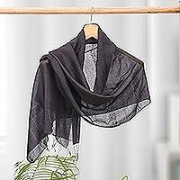 Silk and cotton scarf, 'Black Harmony' - Handwoven Cotton and Silk Scarf