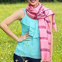Silk and cotton scarf, 'Rose Harmony' - Handwoven Pink Cotton and Silk Scarf