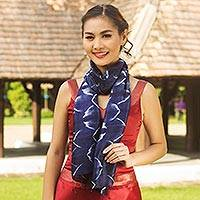 Silk scarf, 'Sapphire Mystique' - Silk Scarf from Thailand