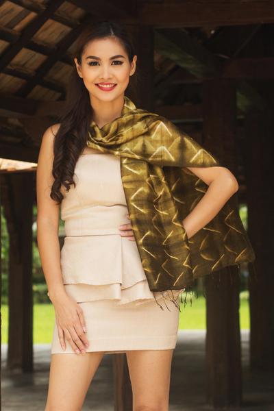 Silk scarf, 'Olive Mystique' - Silk Tie Dye Scarf from Thailand