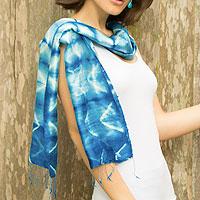 Silk scarf, 'Azure Mystique' - Silk Tie Dye Scarf from Thailand