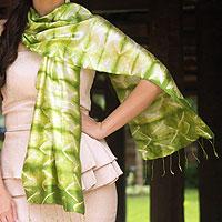 Silk scarf, 'Verdant Mystique' - Silk Tie Dye Scarf from Thailand