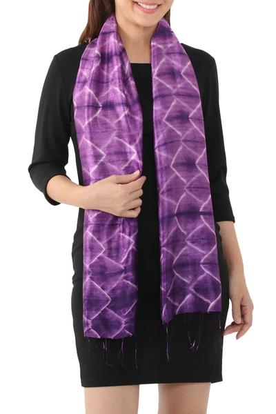 Silk scarf, 'Amethyst Mystique' - Silk Tie Dye Scarf from Thailand