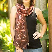 Silk scarf, 'Cocoa Mystique' - Fair Trade Silk Tie Dye Scarf from Thailand