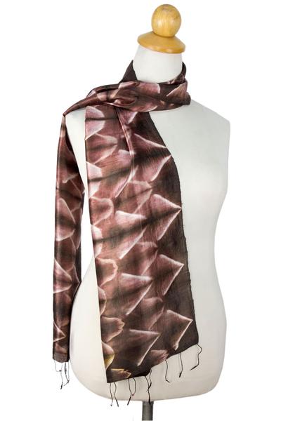 Silk scarf, 'Cocoa Mystique' - Fair Trade Silk Tie Dye Scarf from Thailand