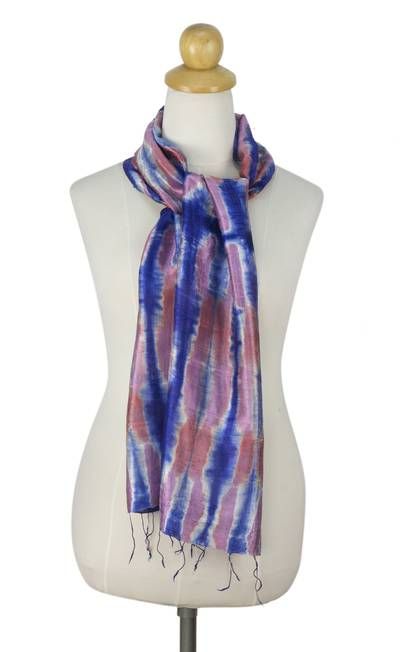 Silk scarf, 'Blue Thai River' - Tie Dye Blue and Pink Silk Scarf from Thailand