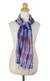 Silk scarf, 'Blue Thai River' - Tie Dye Blue and Pink Silk Scarf from Thailand thumbail