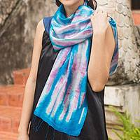Silk scarf, 'Azure Thai River'