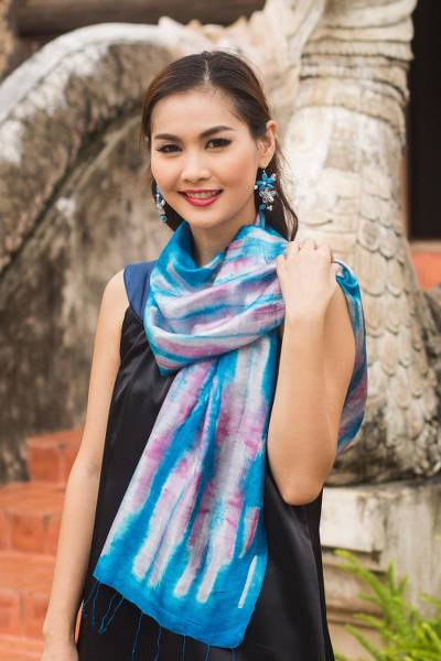 Silk scarf, 'Azure Thai River' - Blue and Pink Tie Dye Silk Scarf