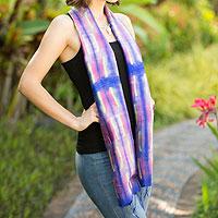 Silk scarf, 'Purple Thai River'