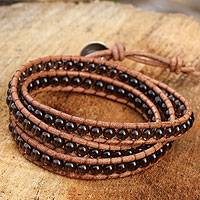 Smoky quartz wrap bracelet, 'Joyful Life' - Smoky Quartz and Leather Wrap Bracelet Thai Jewelry