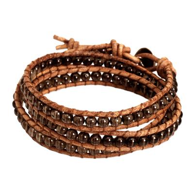 Smoky quartz wrap bracelet, 'Joyful Life' - Smoky Quartz and Leather Wrap Bracelet Thai Jewelry