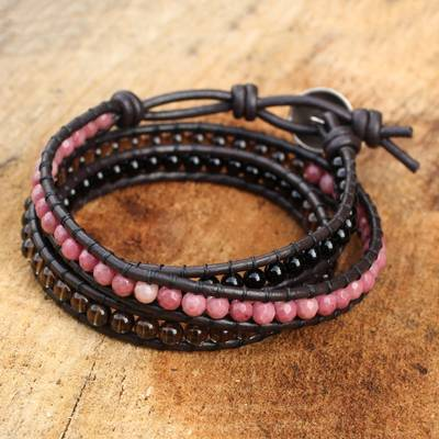 Multi-gemstone wrap bracelet, 'Elegant Enigma' - Onyx Rhodonite Smoky Quartz and Leather Bracelet