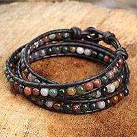Jasper wrap bracelet, 'Inner Nature' - Multi-colored Jasper and Leather Wrap Bracelet
