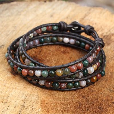 Jasper wrap bracelet, 'Inner Nature' - Multi-colored Jasper and Leather Wrap Bracelet