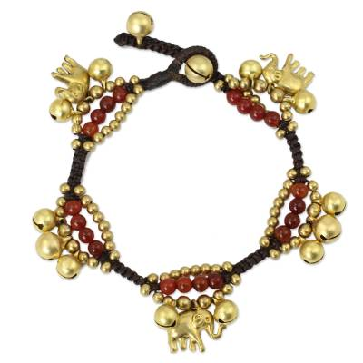 Elephant and Bell Charm Bracelet in Carnelian and Brass