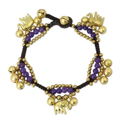 Brass charm bracelet, 'Fortune's Melody' - Elephant and Bell Charm Bracelet in Purple Quartz and Brass