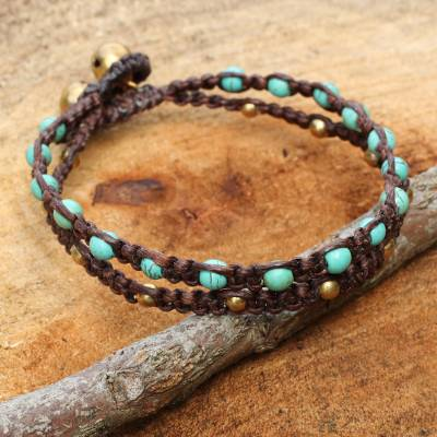 Brass braided bracelet, 'Aqua Boho Chic' - Brass Bracelet Turquoise-color Gems Braided Jewelry