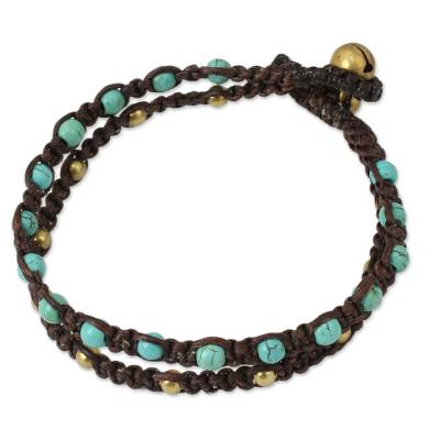 Turquoise and Brass Braided Bracelet from Thailand