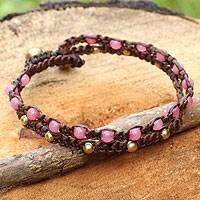 Brass braided bracelet, 'Pink Boho Chic'