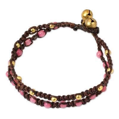 Brass braided bracelet, 'Pink Boho Chic' - Brass Bracelet Pink Gems Braided Jewelry