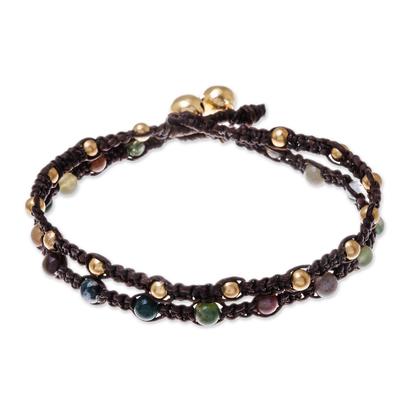 Brass braided bracelet, 'Green Boho Chic' - Brass Bracelet Green Brown Gems Braided Jewelry