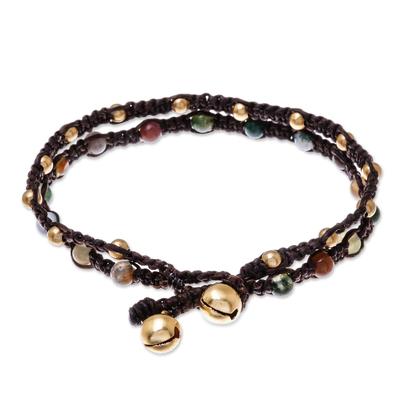 943f6a7634e Brass Bracelet Green Brown Gems Braided Jewelry - Green Boho Chic | NOVICA