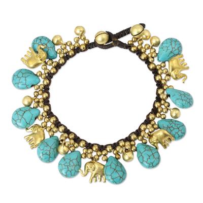 Brass charm bracelet, 'Siam Legacy' - Brass Beaded Turquoise Colored Elephant Bracelet