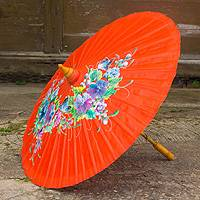 Saa paper parasol, 'Tangerine Garden' - Hand Painted Saa Paper Parasol from Thailand