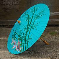 Saa paper parasol, 'Blue Bamboo' - Hand-painted Blue Saa Paper Parasol