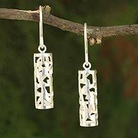 Sterling silver dangle earrings, 'Forest Shadow' - Modern Brushed Silver Earrings from Thailand