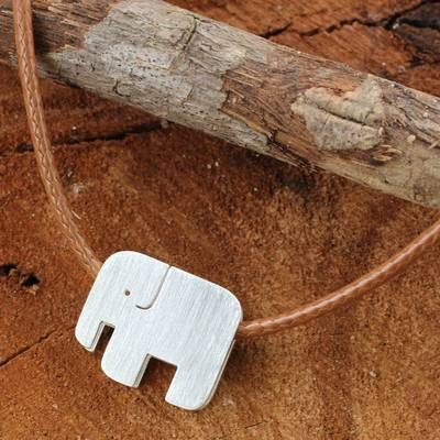 Sterling silver pendant necklace, 'Modern Elephant' - Modern Silver Elephant Necklace on a Braided Cord