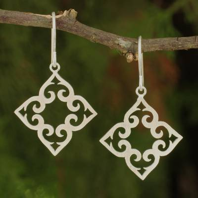 Sterling silver dangle earrings, 'Kaleidoscope Hearts' - Handcrafted Sterling Silver Dangle Earrings