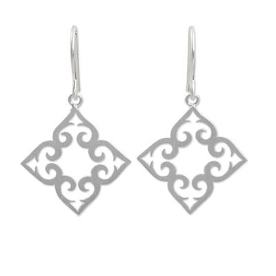 Sterling silver dangle earrings, 'Kaleidoscope Hearts' - Handcrafted Sterling Silver Dangle Earrings