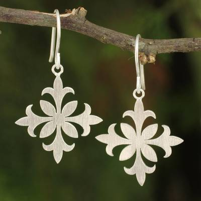 Sterling silver dangle earrings, 'Siam Goth' - Earrings Crafted by Hand with Sterling Silver