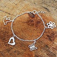 Sterling silver charm bracelet, 'Inspiring' - Handmade Sterling Silver Charm Bracelet